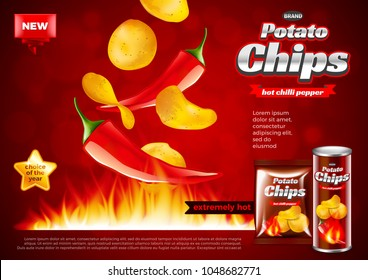 Chips ads. Hot chili pepper falling into fire. 3d illustration and packaging