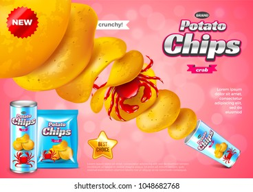 Chips ads. Pack explosion, crab flavour. 3d illustration and packaging