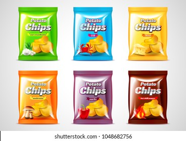 Chips package design, photo realistic vector set. Six flavors