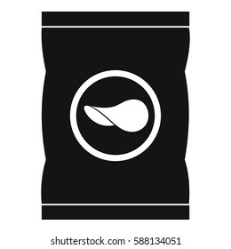 Chips plastic bag icon. Simple illustration of chips plastic bag vector icon for web