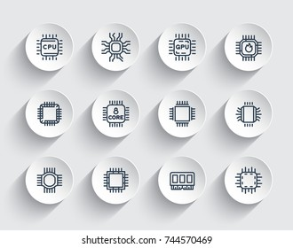 Chipsets line icons, cpu, microchip, processor, microcircuit