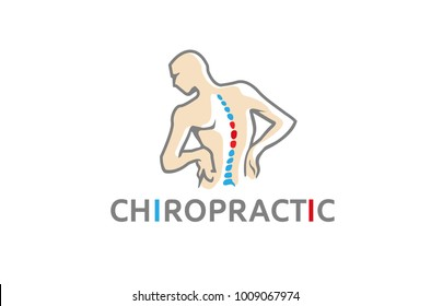Chiropractic Body Pain Exercice Vector spine diagnostics symbol design Logo Illustration