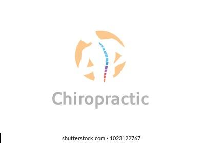 Chiropractic Body Pain Exercice Vector spine diagnostics symbol design Logo Illustration