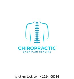 Chiropractic logo design. Spine logo template. Spinal icon. Backbone icon related to Physio therapy