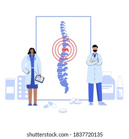 Chiropractic spine care logo for clinic. Doctor vertebrologist help. Spinal pain in backbone, physiotherapy, rehabilitation center vector illustration. Scoliosis, osteoporosis and vertebral problem.