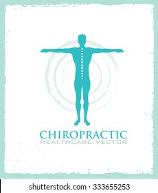 Chiropractic Spine Healthcare Vector Design Element. Man Silhouette On Organic Background