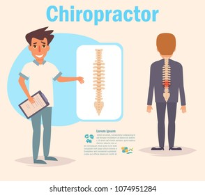 Chiropractor Vector. Cartoon. Isolated art on white background. Flat