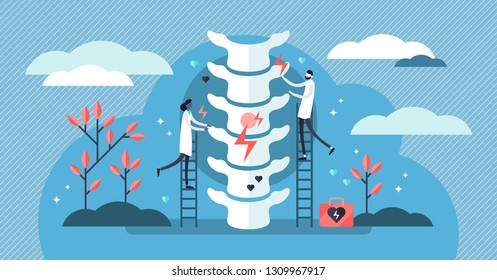 Chiropractor vector illustration. Flat tiny alternative medicine person concept. Spine pain, problems and disorders manual therapy. Anatomical patient body natural treatment from injury diagnosis.