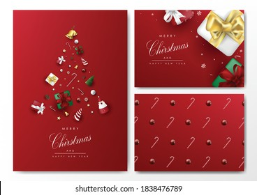 Chirstmas card background template vector with object elements design