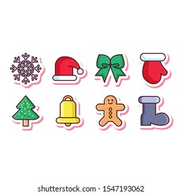 chirstmas set decoration snowflake icon in flat style isolated. Vector Symbol illustration.