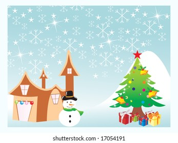 chirstmas tree with snowflakes background