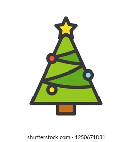 Chirstmas tree vector, Christmas related filled design icon, editable outline