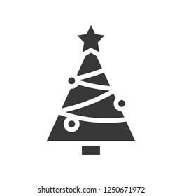 Chirstmas tree vector, Christmas related solid design icon