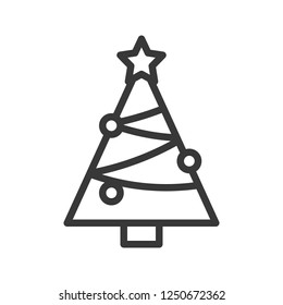 Chirstmas tree vector, Christmas related line design icon
