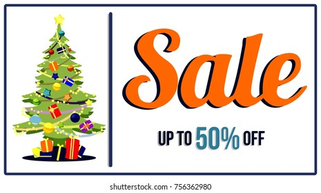 chirstmas winter promotion sale banner background