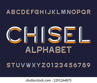Chisel alphabet font. Type letters and numbers. Chiseled block vector typescript for your design.