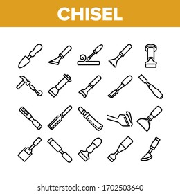 Chisel Carpentry Tool Collection Icons Set Vector. Sharp Steel Chisel With Hammer, Carpenter Instrument, Workshop Equipment Concept Linear Pictograms. Monochrome Contour Illustrations