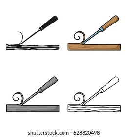 Chisel icon in cartoon style isolated on white background. Sawmill and timber symbol stock vector illustration.