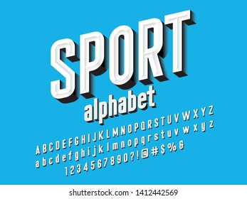 Chisel style alphabet design with uppercase, lowercase, number and symbols