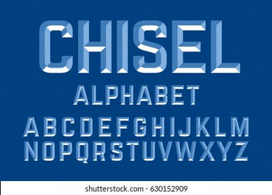Chiseled alphabet letters set illustration. Ready to be placed on any background or color.