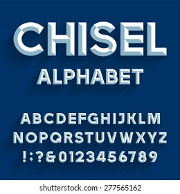 Chiseled Alphabet Vector Font. Type letters, numbers and punctuation marks. Chiseled block letters on the blue background.