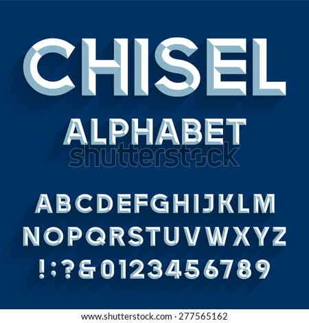 Chiseled Alphabet Vector Font Type Letters Stock Vector Royalty