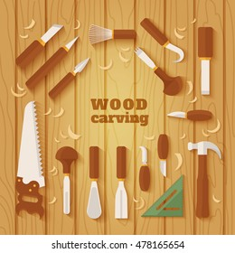 The chisels vector icon. Wood carving collection. Flat style icon