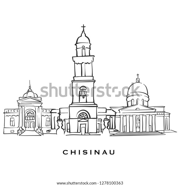 Chisinau Moldova Famous Architecture Outlined Vector Stock