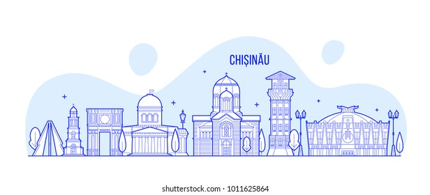 Chisinau skyline, Moldova. This illustration represents the city with its most notable buildings. Vector is fully editable, every object is holistic and movable