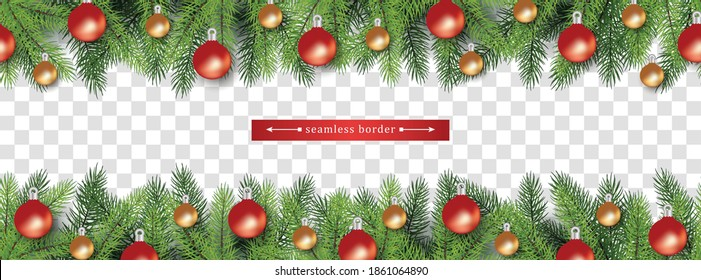 Chistmas holiday seamless border set for bottom and top side of page isolated on transparent background - Christmas tree branches with baubles, vector illustration.