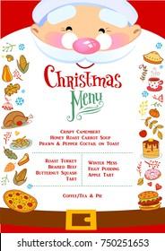 Chistmas Menu layout with cheerful Santa Claus