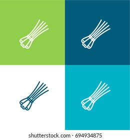 Chives green and blue color minimal icon or logo design