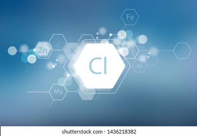 Chlorine. Minerals for human health. Structural schematic diagram on a blurred background. Conditional image of Chlorine.