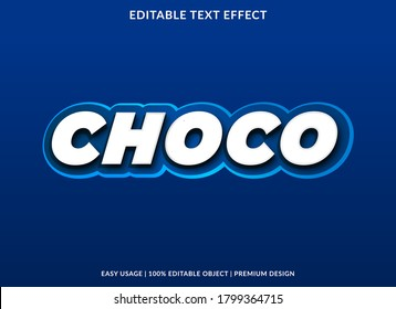 choco text effect template with cartoon style and bold font concept use for food brand label and logo
