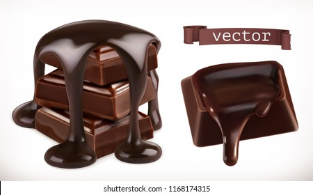 Chocolate. 3d realistic vector icon