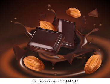 Chocolate with almond seeds, tasty liquid twisted in the middle isolated on solid color background, Vector realistic in 3d illustration. Food concept.