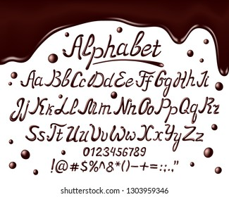 Chocolate alphabet font. Realisctic chocolate uppercase, lowercase letters and numbers on white background, vector illustration