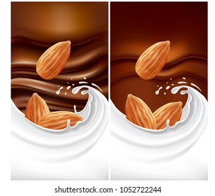 chocolate background with milk splash and almond