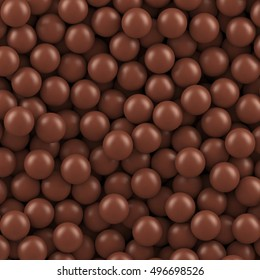 Chocolate balls background. Vector background made with gradient meshes. Background design for banner, poster, flyer, card, postcard, cover, brochure.