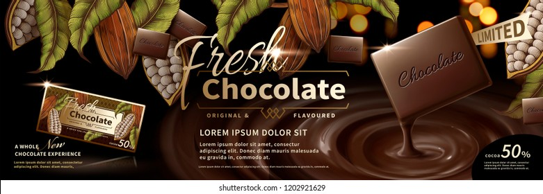 Chocolate banner ads with engraving cocoa plants frames and realistic sauce in 3d illustration