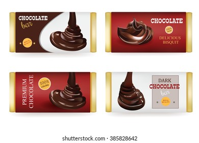 Chocolate bar Design Templates Isolated On White Background. Liquid Pouring Chocolate and Text on the Packaging
