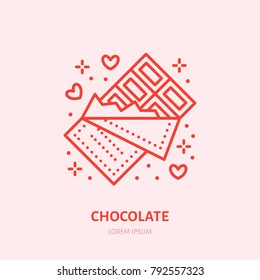 Chocolate bar illustration. Sweets flat line icon, candy shop logo. Valentines day present sign.