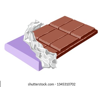 Chocolate bar isolated on white background. Sweet candy in open purple wrap and foil. Vector illustration of cocoa dessert in cartoon simple flat style.