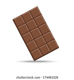 Chocolate bar isolated on white, vector illustration