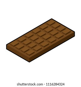 Chocolate bar isometric. Sweetness Vector illustration. Food