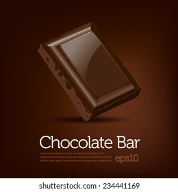 Chocolate bar on brown dark background