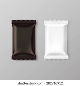 Chocolate bar package packaging blank white brown pack set isolated vector illustration