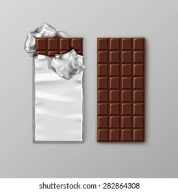 Chocolate bar package packaging blank white pack set isolated vector illustration