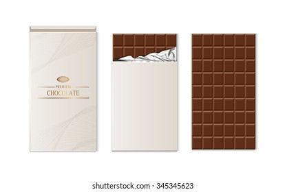 Chocolate bar package packaging set isolated vector