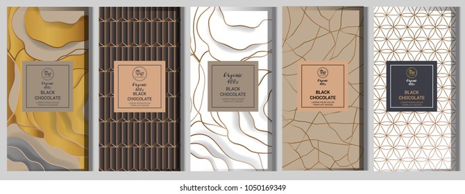 Chocolate bar packaging mock up set. elements,labels,icon,frames, for design of luxury products.Made with golden foil.Isolated on geometric and brown background. vector illustration